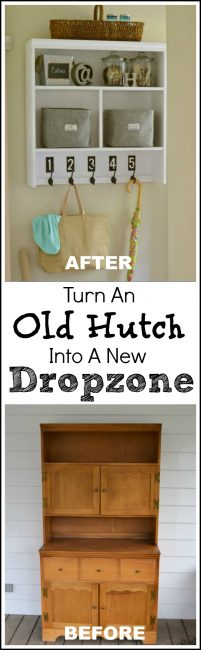 No place for a dedicated mudroom? Grab an old hutch from a thrift store and easily turn the top half of it into a dropzone that hangs on the wall. The bottom half can be used as a chest in another room.