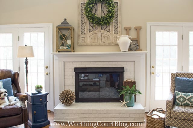 Amazing transformation of a dated red brick and oak wood surround fireplace