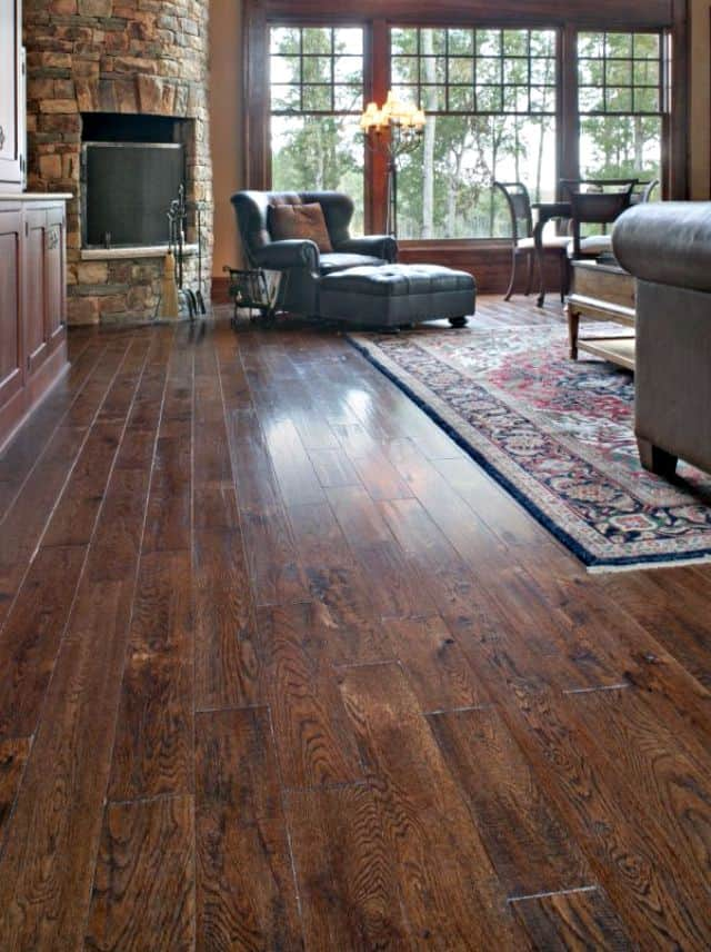 Rich hand-scraped hardwood floor
