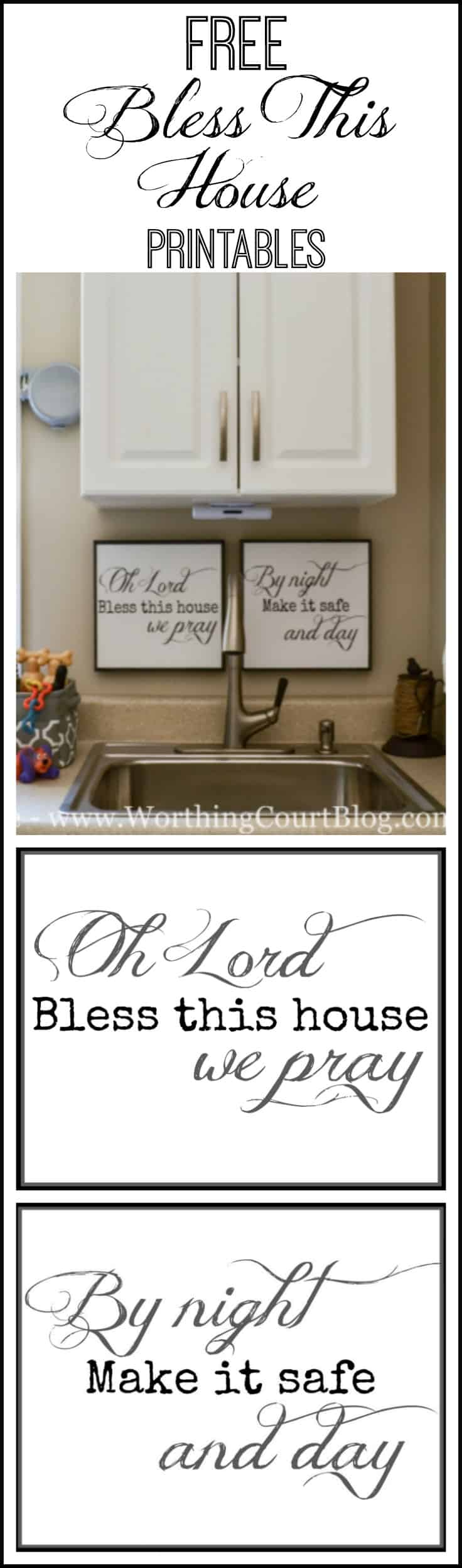 "Free ""Bless This House"" Simple Prayer Printables. Available in 8""x10"" and 11.5"" square sizes."