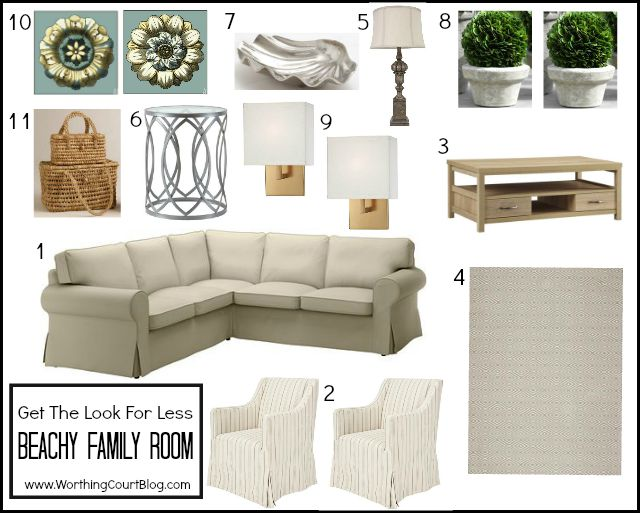 How to recreate a beach family room on a budget