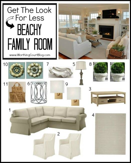 How to recreate this beachy family room on a budget