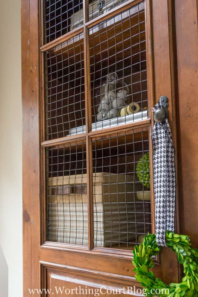 Use cage wire in the place of glass in cabinet doors