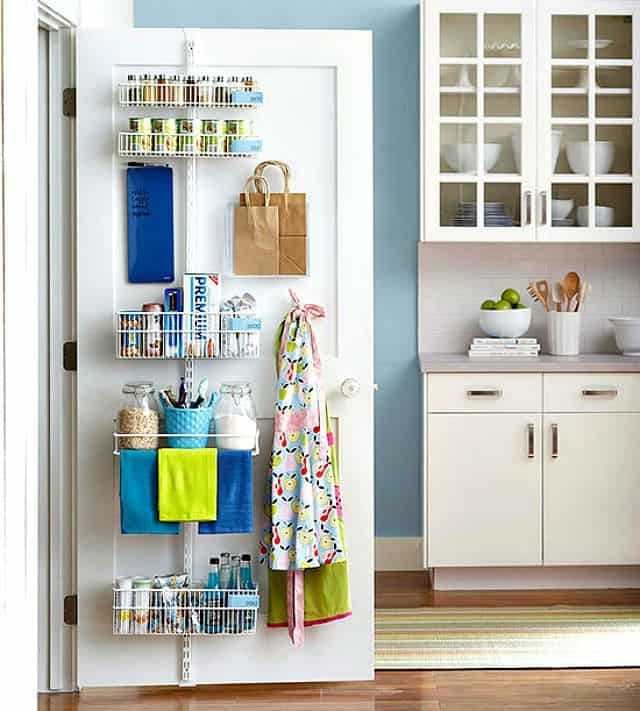 Kitchen Supplies On The Inside Of A Pantry Door By Using An Adjule Shelf Strip