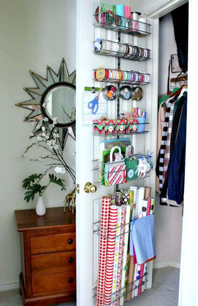 Store Wrapping Paper And Supplies On The Inside Of A Closet Door.