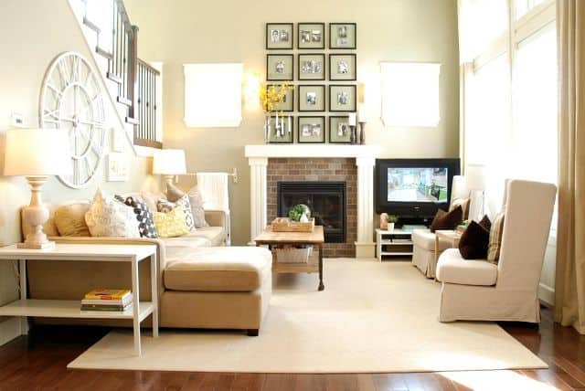 Keep lines clean and simple when using a sectional sofa in a small family room to avoid a cluttered look.