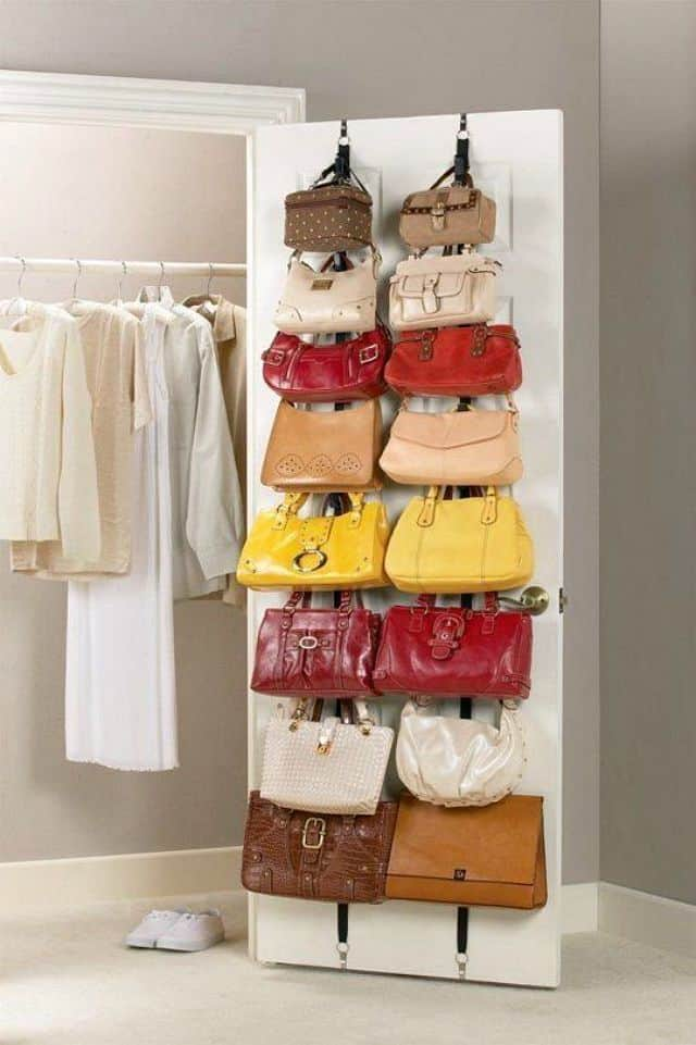 Store purses on the inside of a closet door