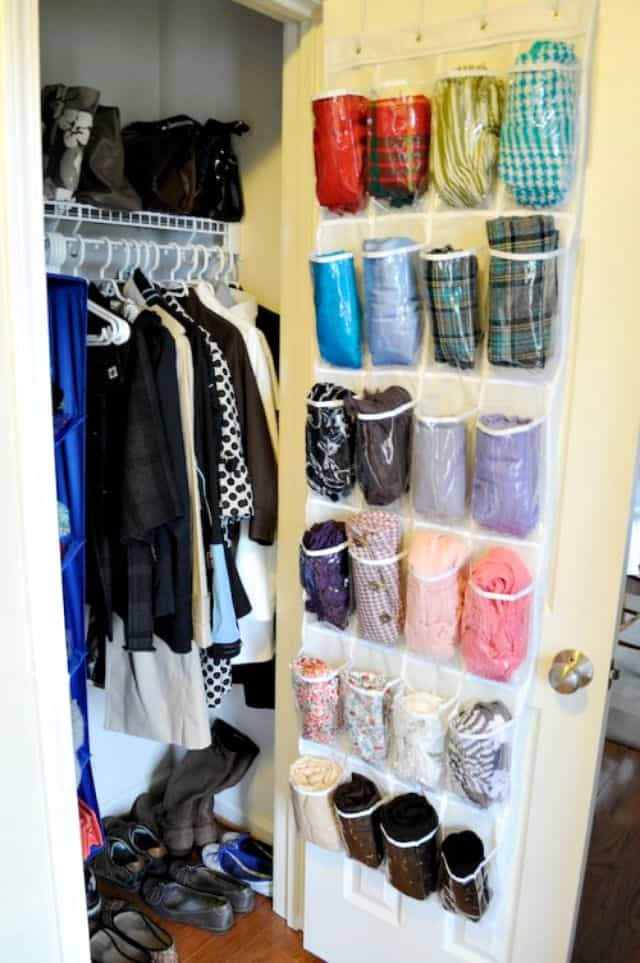 Hand a shoe bag on a closet door to hold gloves, mittens, hats and scarves
