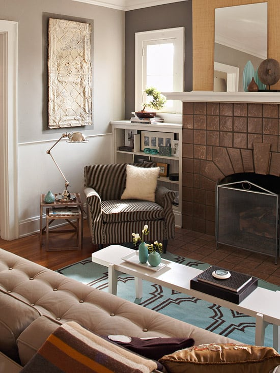 A small, narrow bench can serve as a coffee table in a tight space