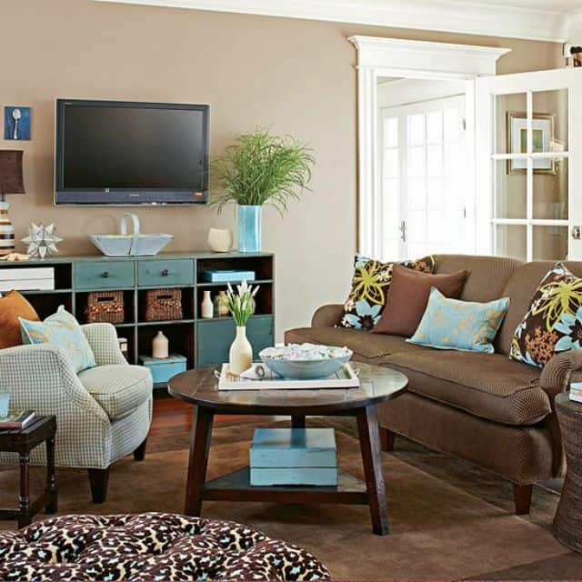 A round coffee table works well in a small living space