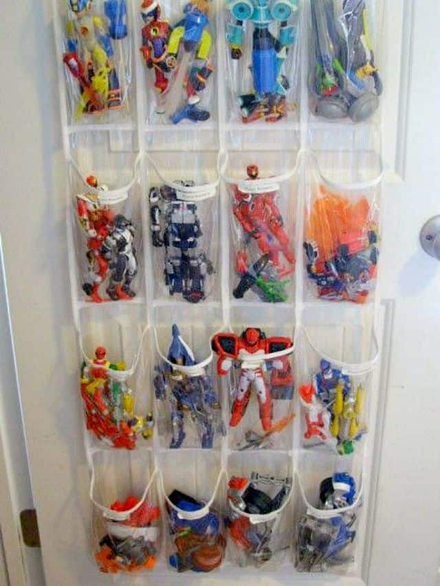 Hang a shoe bag on a closet door to hold all sorts of small toys
