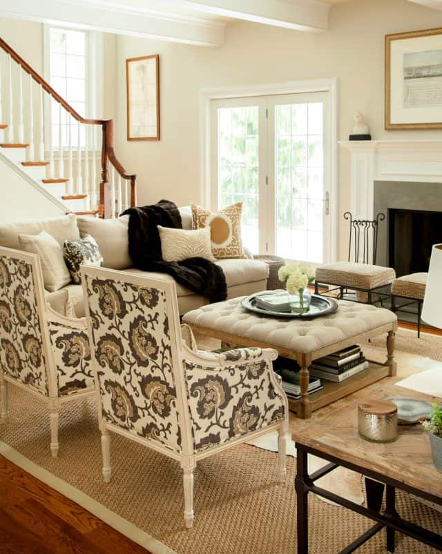 A pair of matching chairs work well in a small family room.