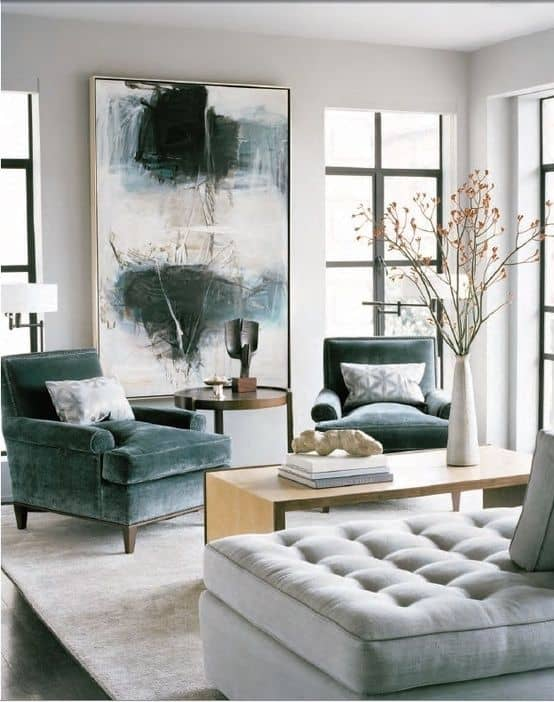Consider using a large piece of statement art in a small room to add drama