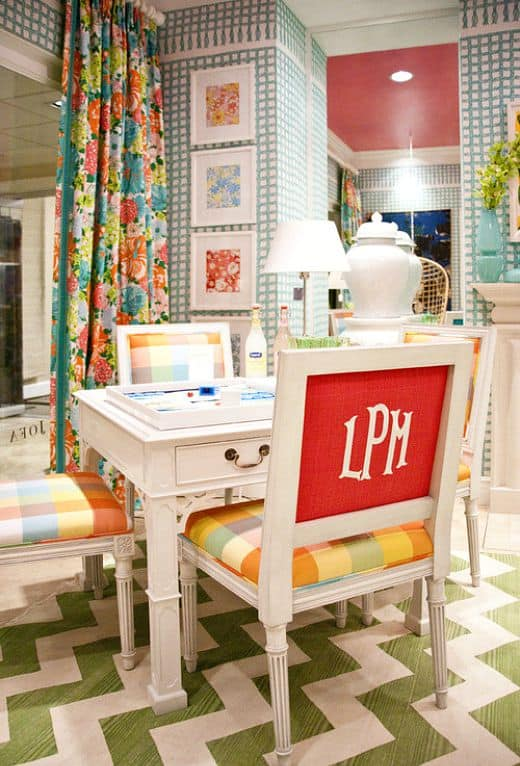 Don't be afraid to use color and pattern in a small family room