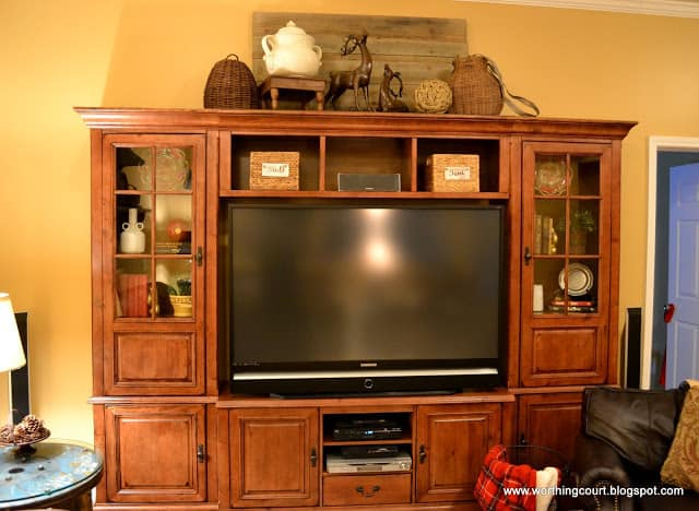 how i gave my entertainment center a makeover without