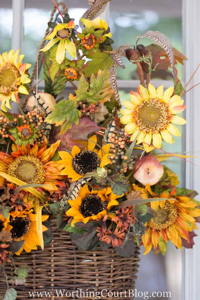Super easy fall front door hanging basket