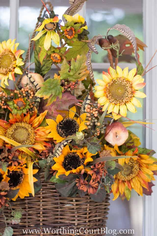 Super easy fall front door hanging basket