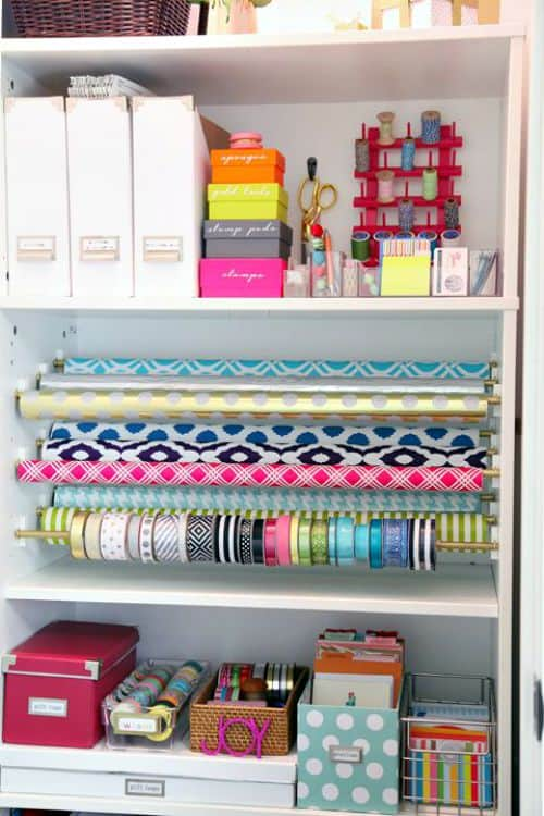 Customize the interior of a bookcase or a closet to hold all of your wrapping paper and supplies