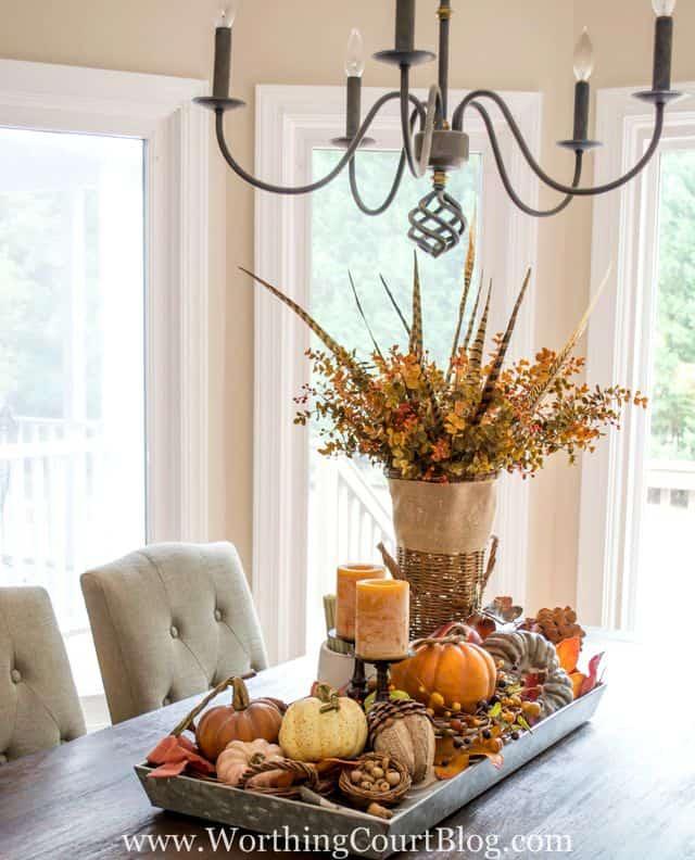 46 Best Farmhouse Home Decor Ideas You Will Totally Love: Farmhouse Fall Table Centerpiece