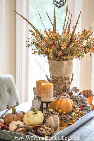 Farmhouse fall table centerpiece worthing court for Thanksgiving decorations ideas for office