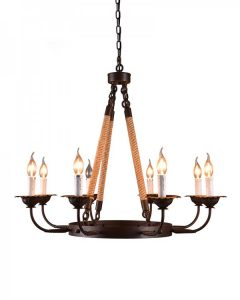 Parrot Uncle - 8 Light Black Iron Hemp Rope Chandelier