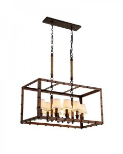 Parrot Uncle - Vintage Industrial Iron Chandelier With Horizontal Rectangular Frame Design