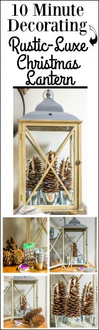 Step-by-step directions for creating an easy and fast rustic-luxe Christmas lantern.