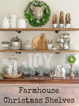 Farmhouse Christmas Shelves poster.