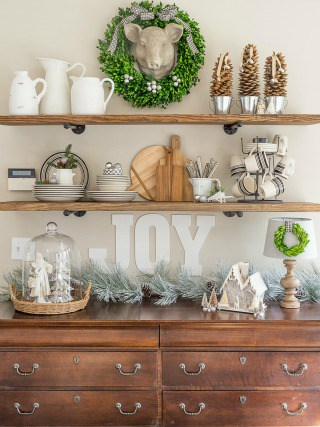 Rustic farmhouse shelves decorated for Christmas