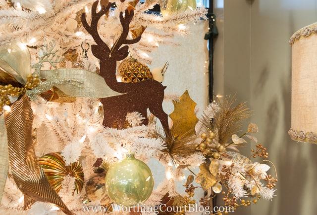 Glittery deer Christmas tree ornament
