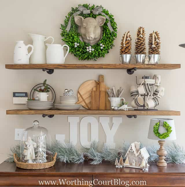Open rustic farmhouse shelves decorated for Christmas || Worthing Court