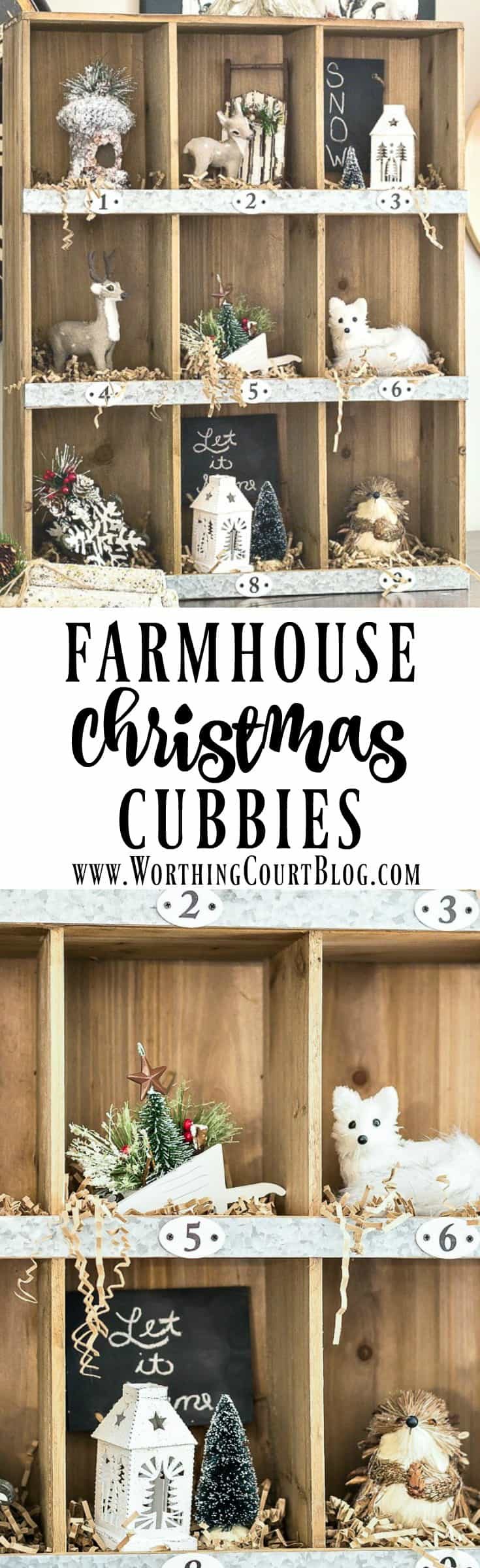 Rustic farmhouse style cubbies filled with tree ornaments for Christmas