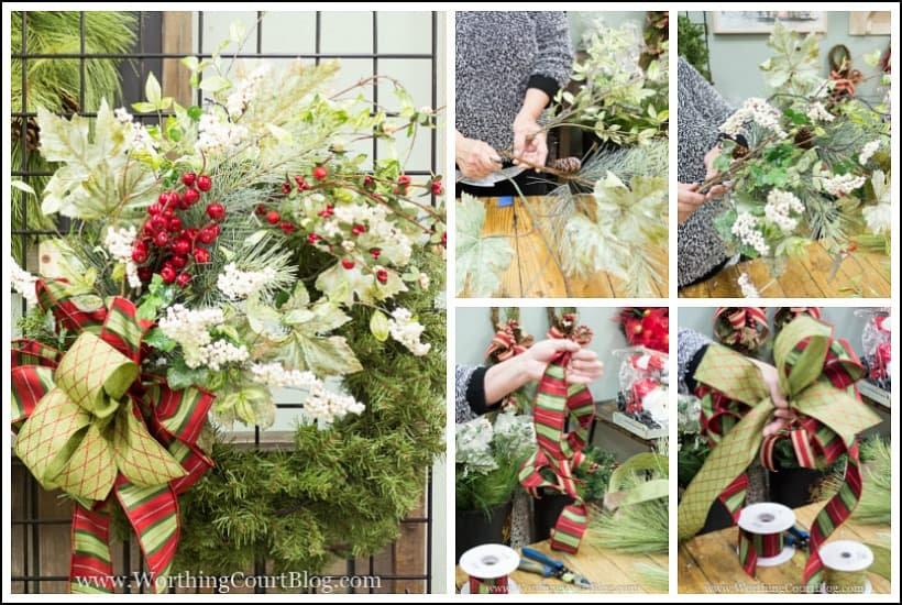 directions for how to decorate a Christmas wreath