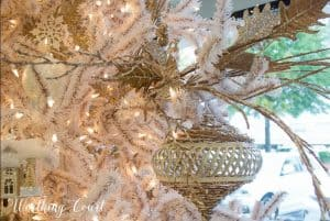 white, gold and silver Christmas tree decorations