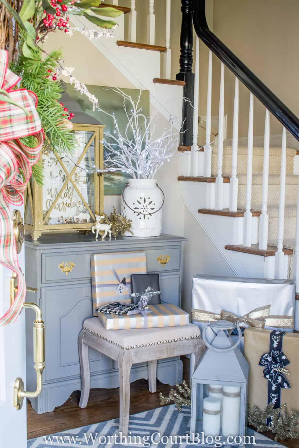 Rustic And Elegant Christmas Foyer decorated.