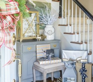 Rustic And Elegant Christmas Foyer