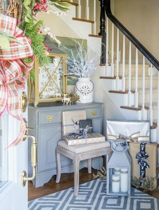 Rustic & Elegant Christmas Foyer