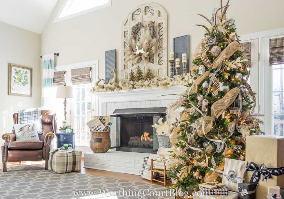 Rustic & Luxe Christmas Tree And Mantel.