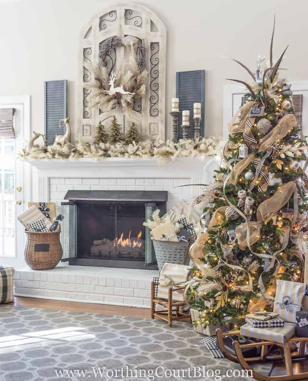 Rustic And Luxe Christmas Tree And Mantel