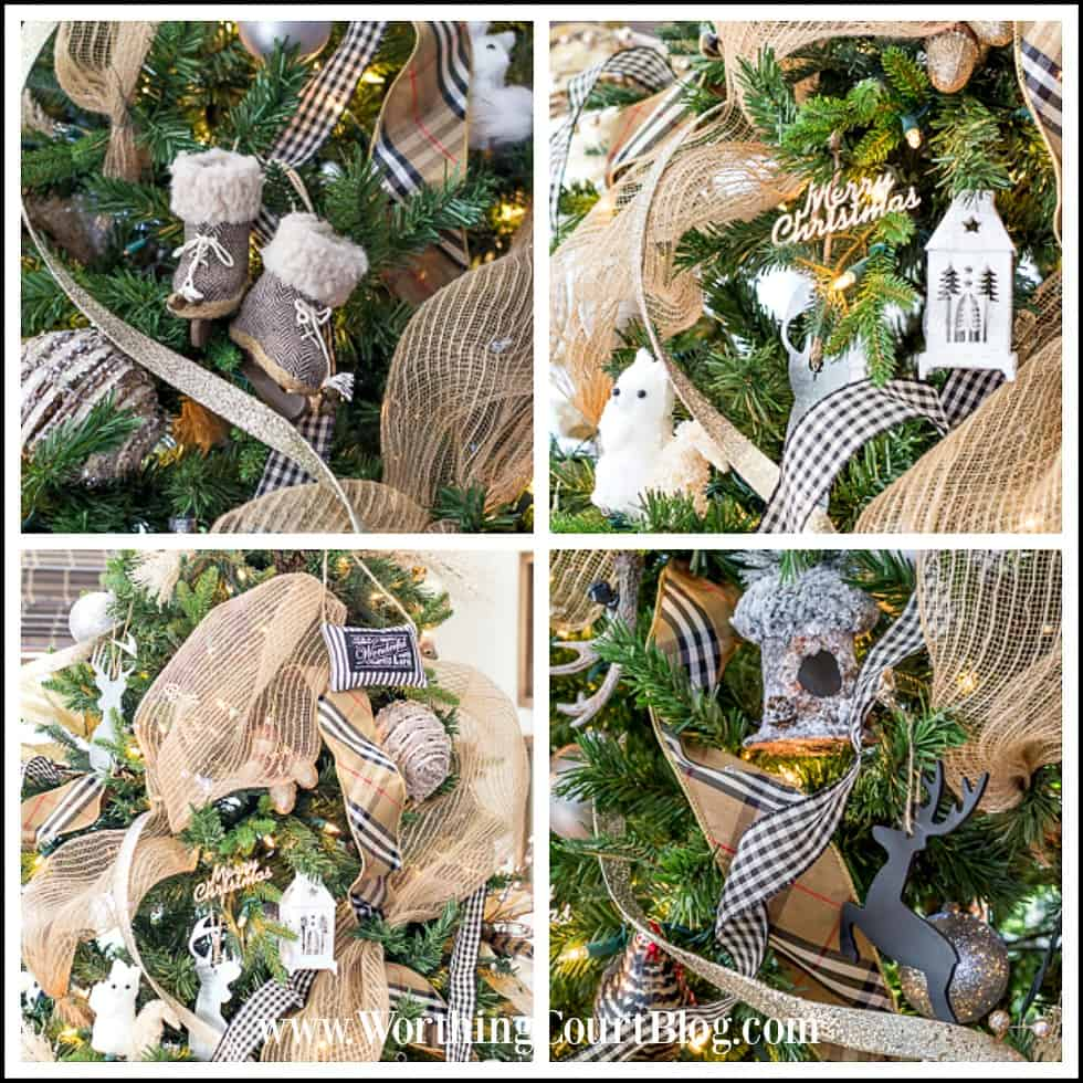 A collage of Rustic & Luxe Christmas Tree Ornaments.