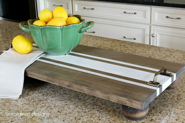 DIY Ticking Stripe Wooden Server Tray