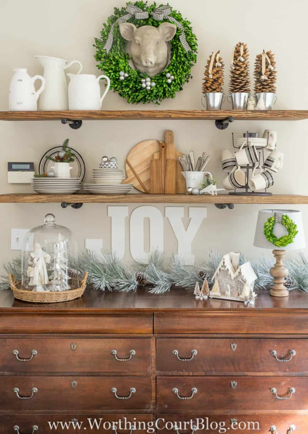 Rustic Industrial Farmhouse Shelves Decorated For Christmas
