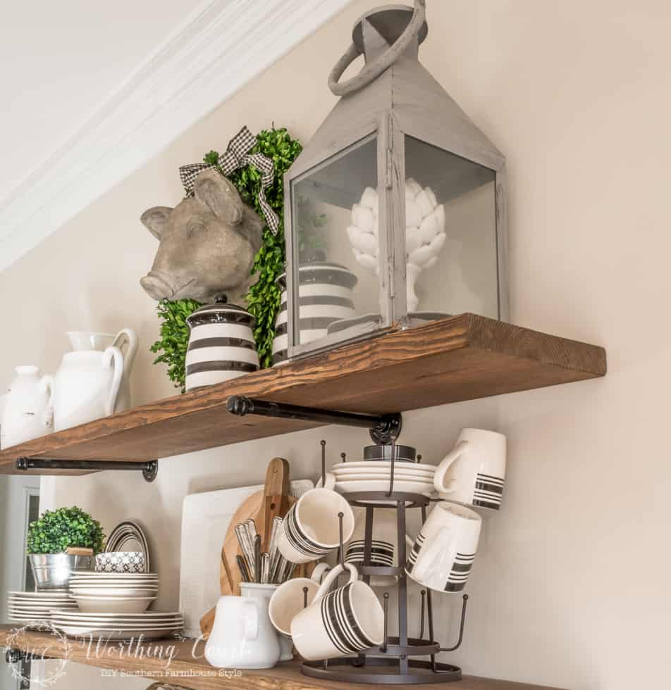DIY rustic farmhouse kitchen shelves display