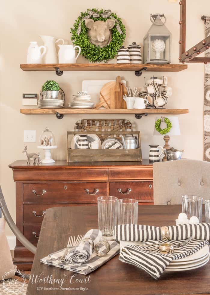 DIY rustic farmhouse open kitchen shelves