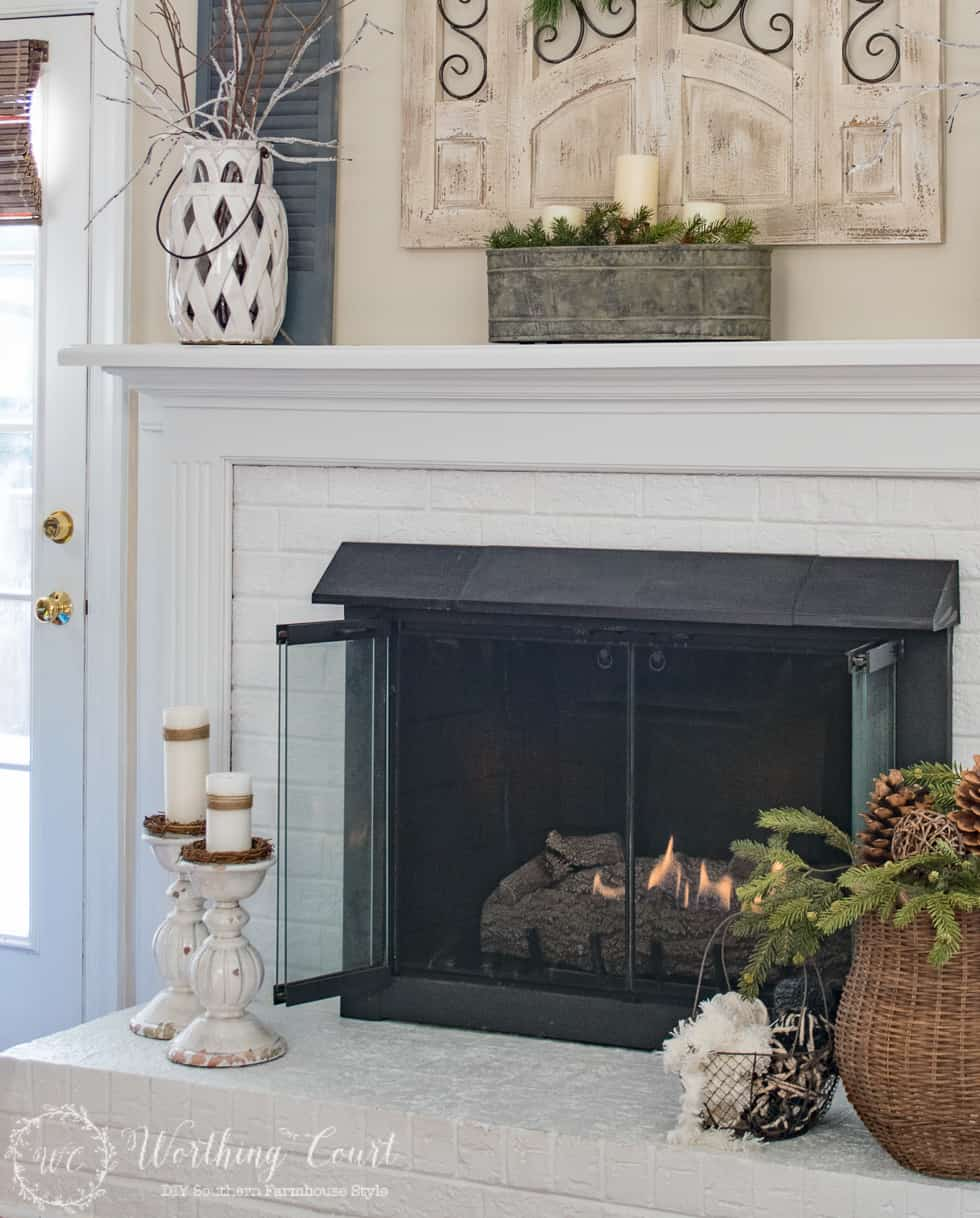 Winter Mantel And Fireplace