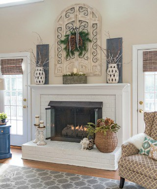 Winter Fireplace Mantel And Hearth