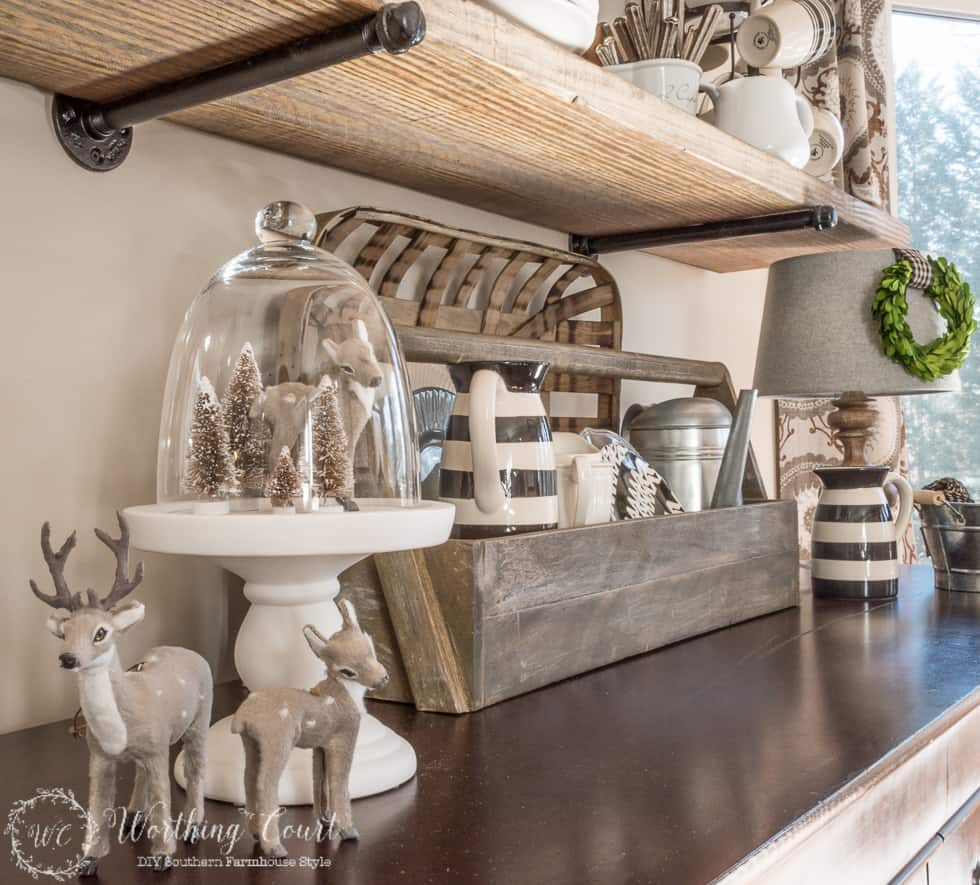DIY rustic industrial shelf brackets made with galvanized plumbing parts