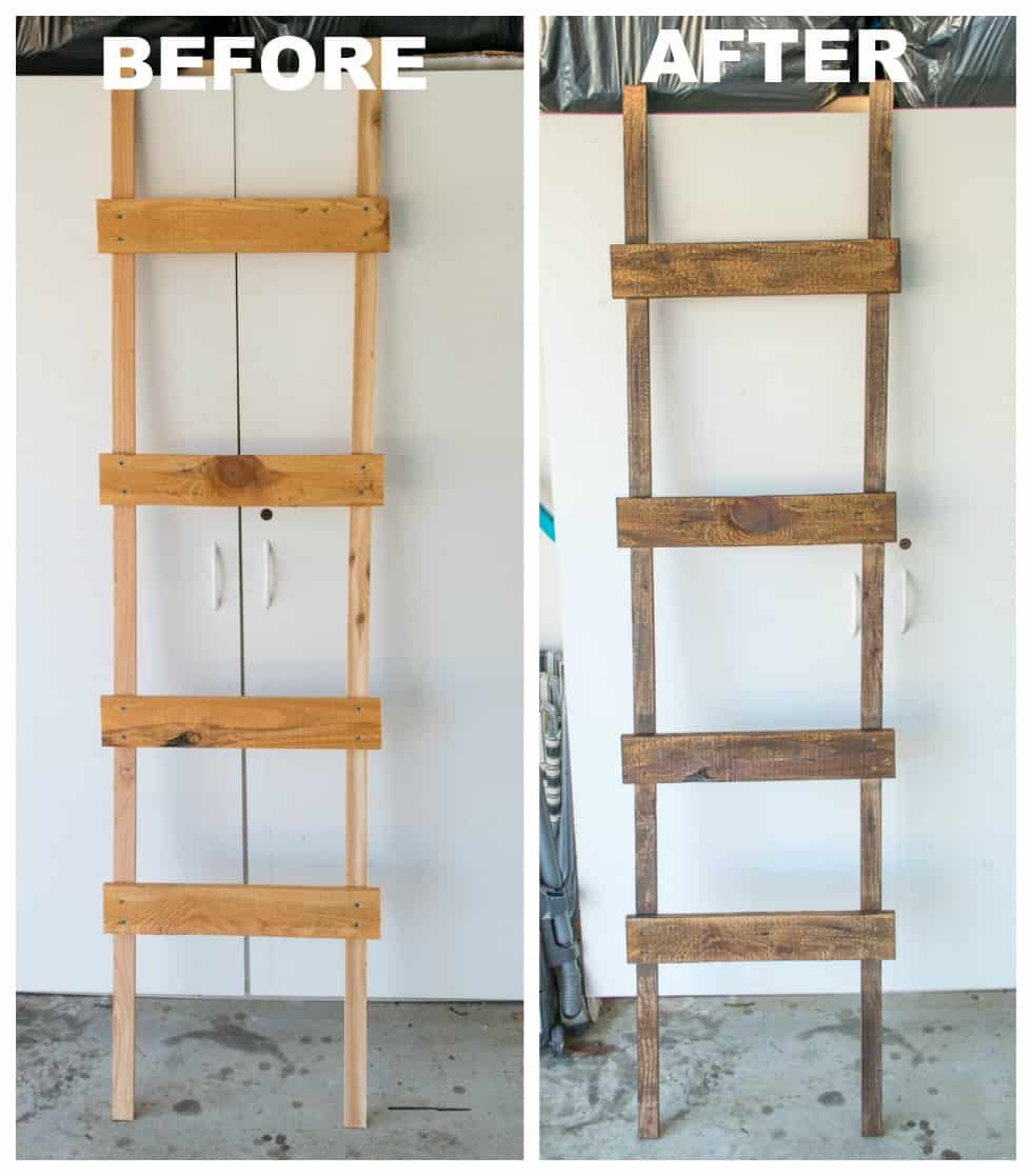 A picture of the ladder before being painted and an after picture.