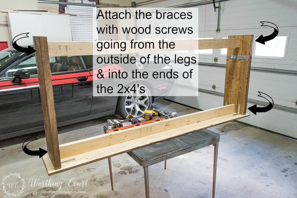 A diagram showing how to attach all the pieces to the wooden table.
