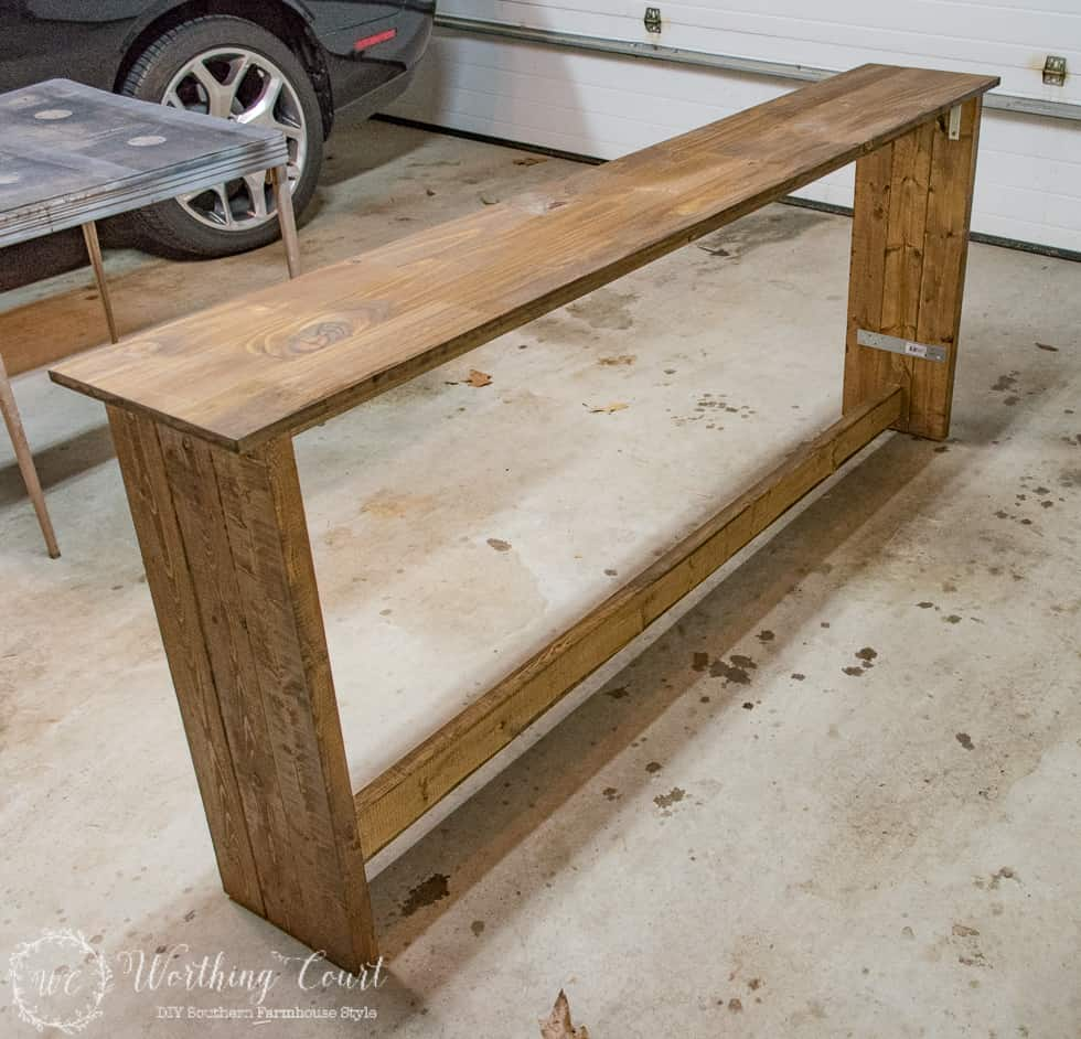 The sofa table built and in the garage.